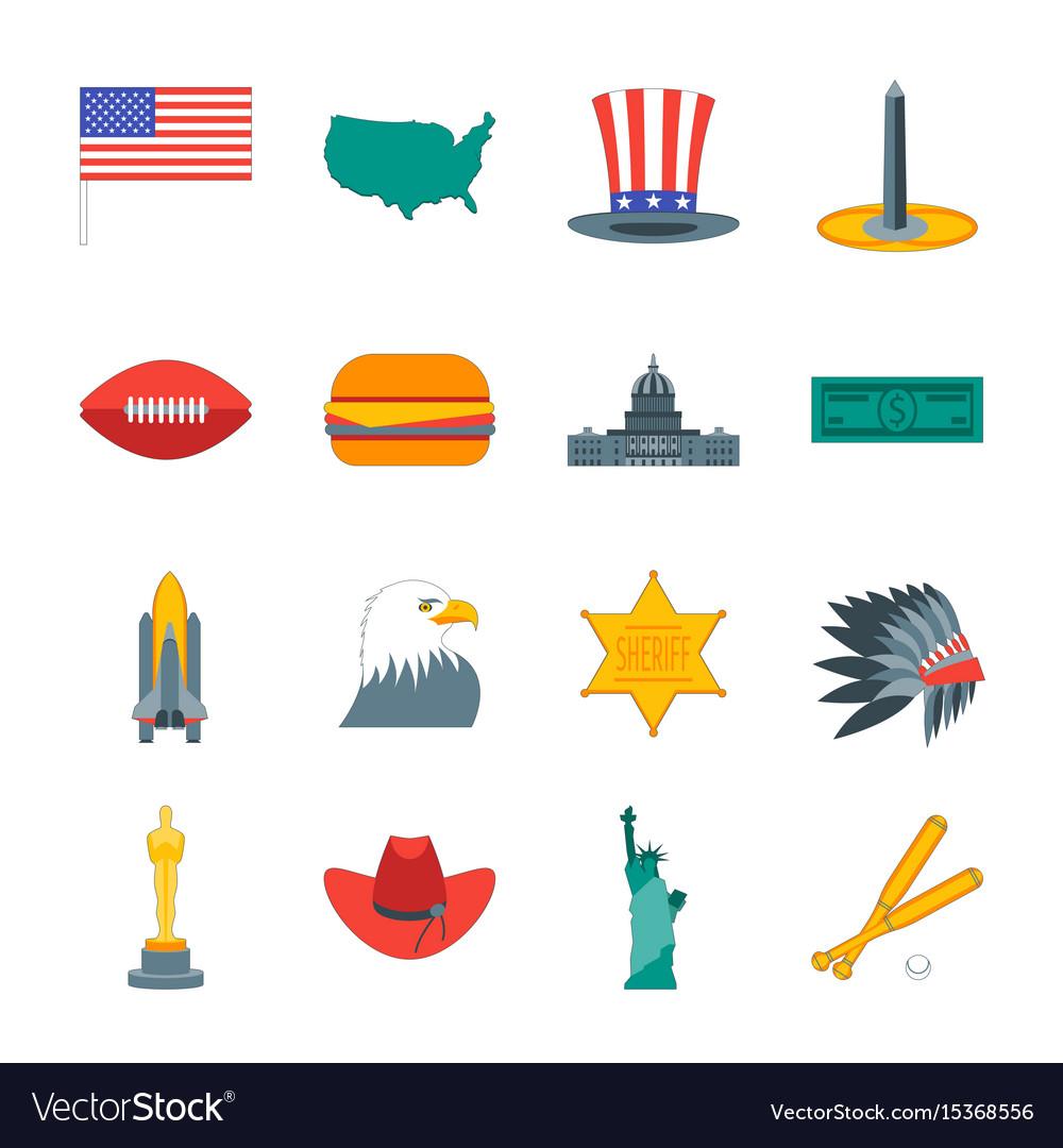 Cartoon symbol of america color icons set