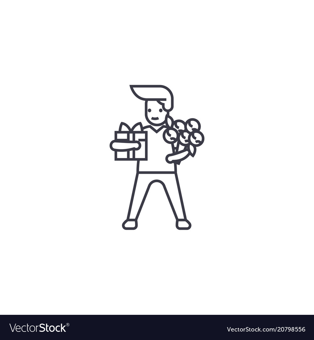 Man with giftbox and flowers line icon