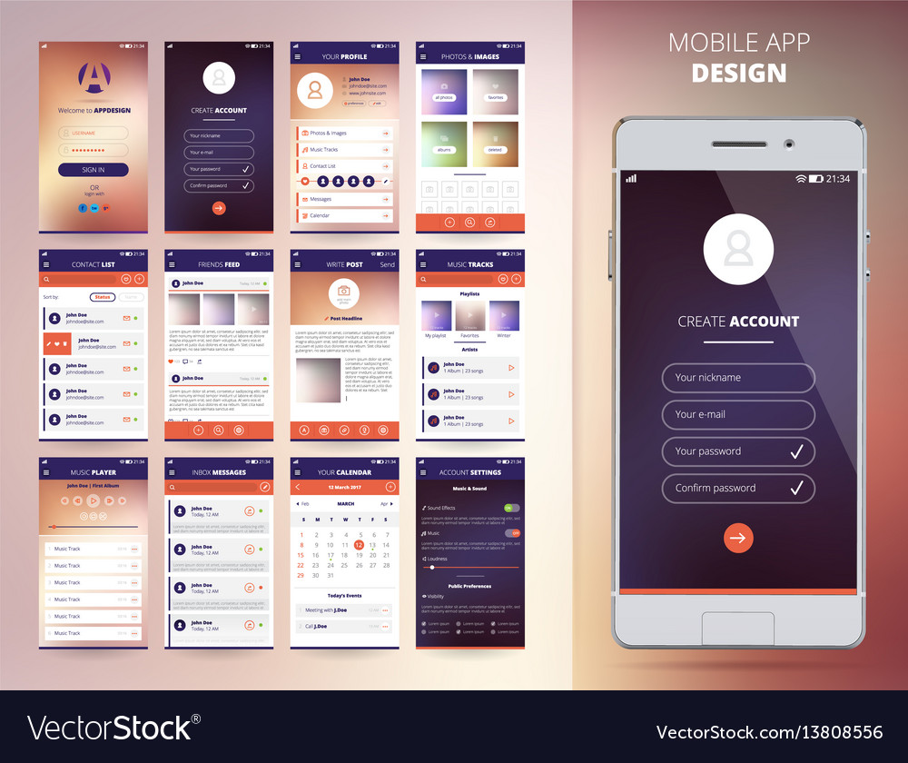 Smartphone application templates vector image