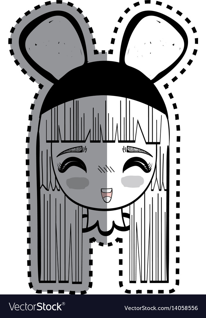 Sticker anime happy cute woman with costume