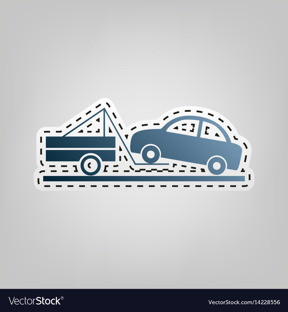 Tow truck sign blue icon with outline for