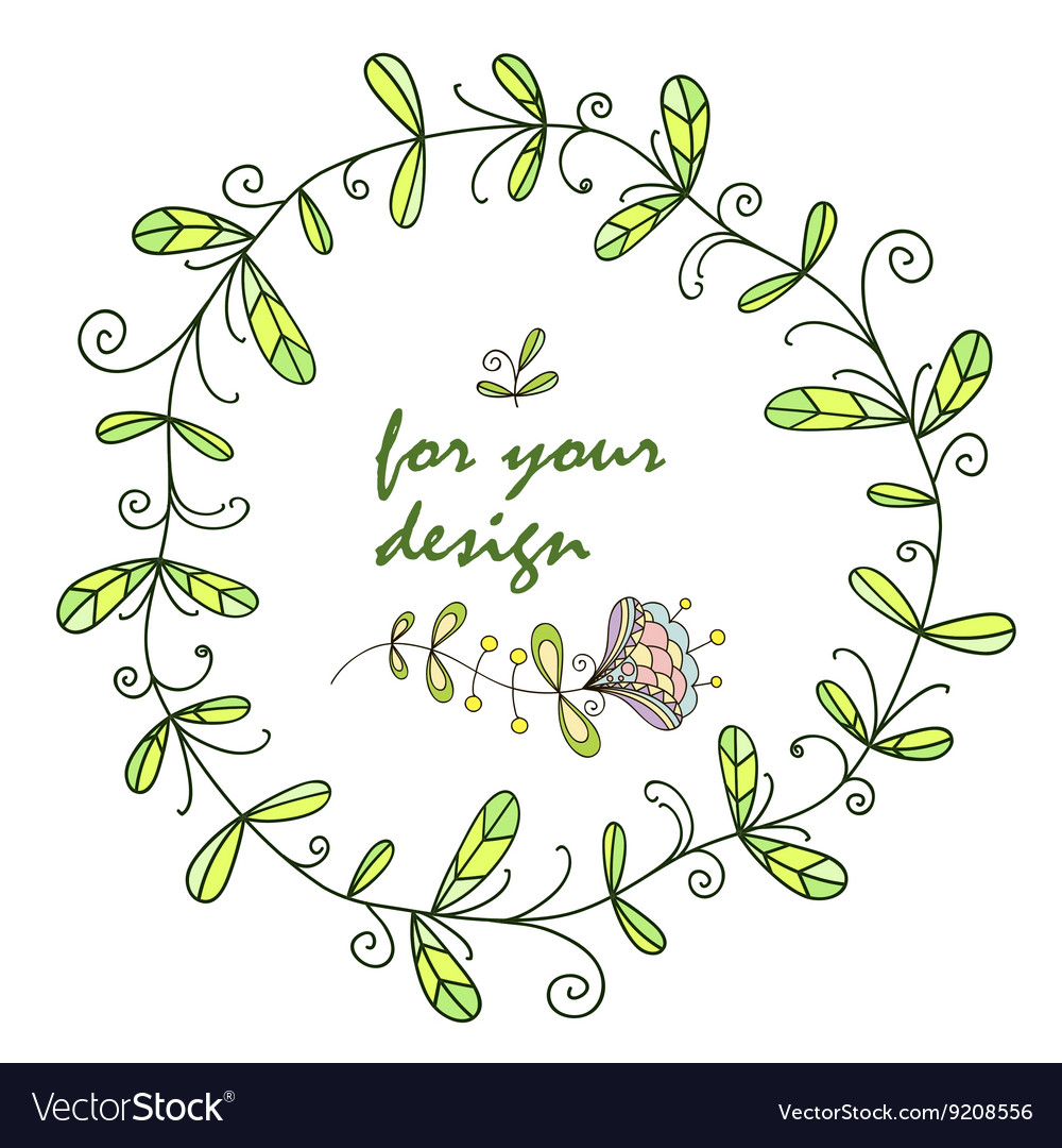 Wreath frame with floral patterns for design