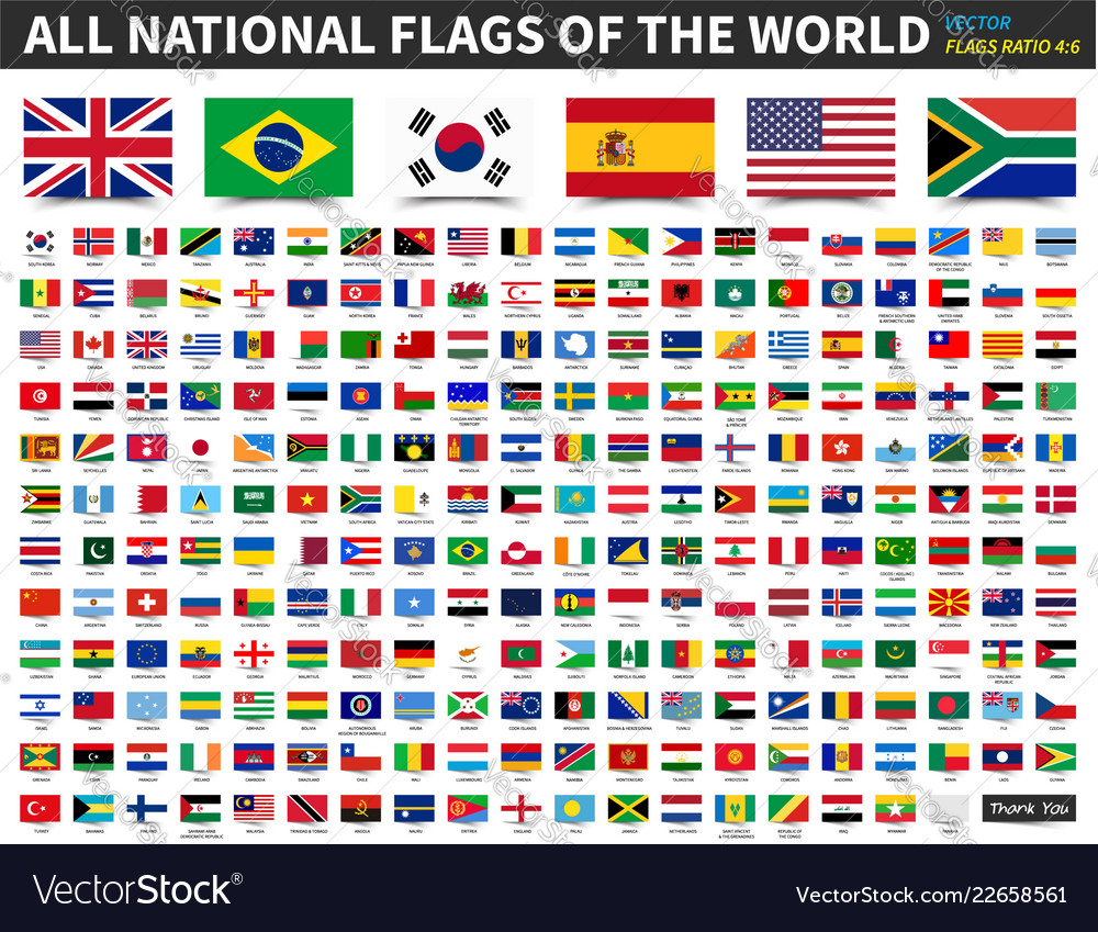 All national flags of the world ratio 4 6