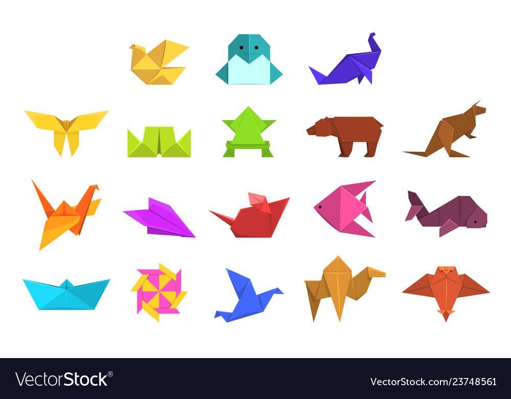 Animals origami set geometric paper animals and