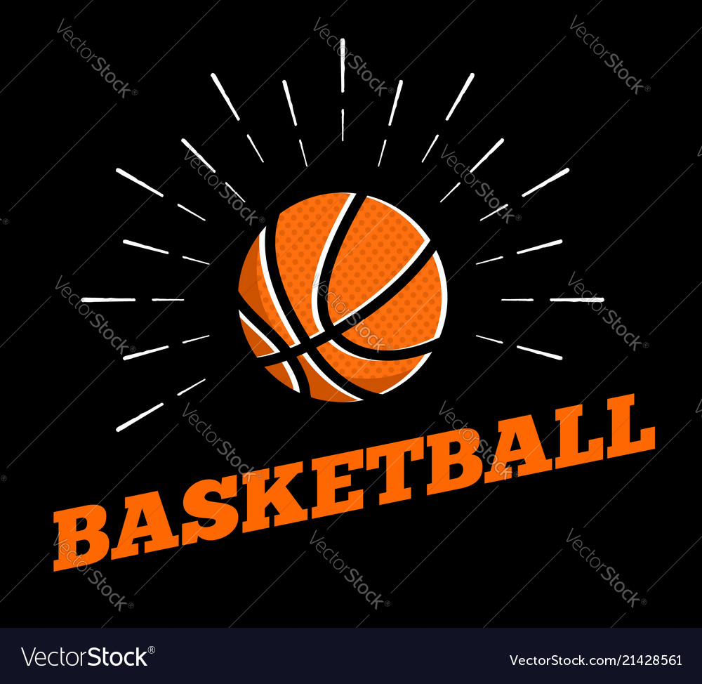 Basketball sport ball logo icon sun burtst print