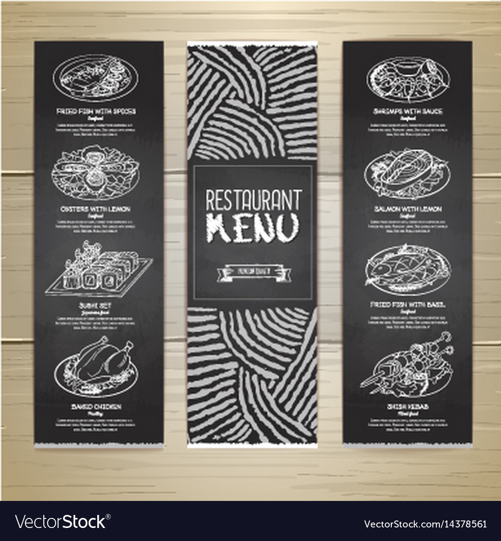 Chalk Drawing Restaurant Menu Design Royalty Free Vector