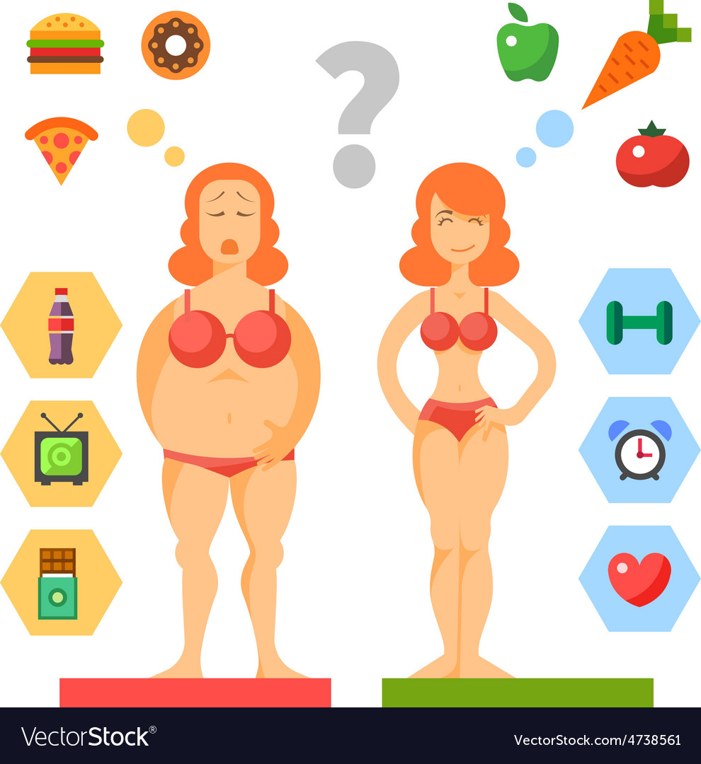 Choice of girls fat or slim diet vector image