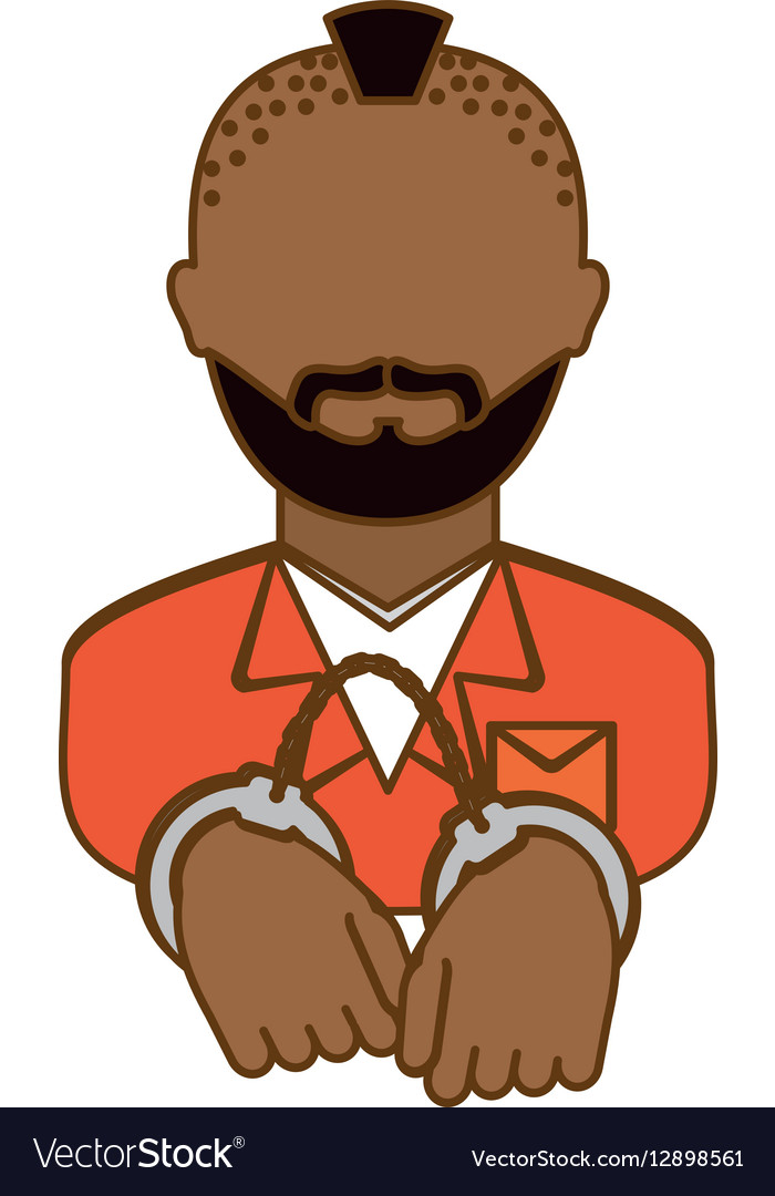Color arrested man with handcuffs icon vector image