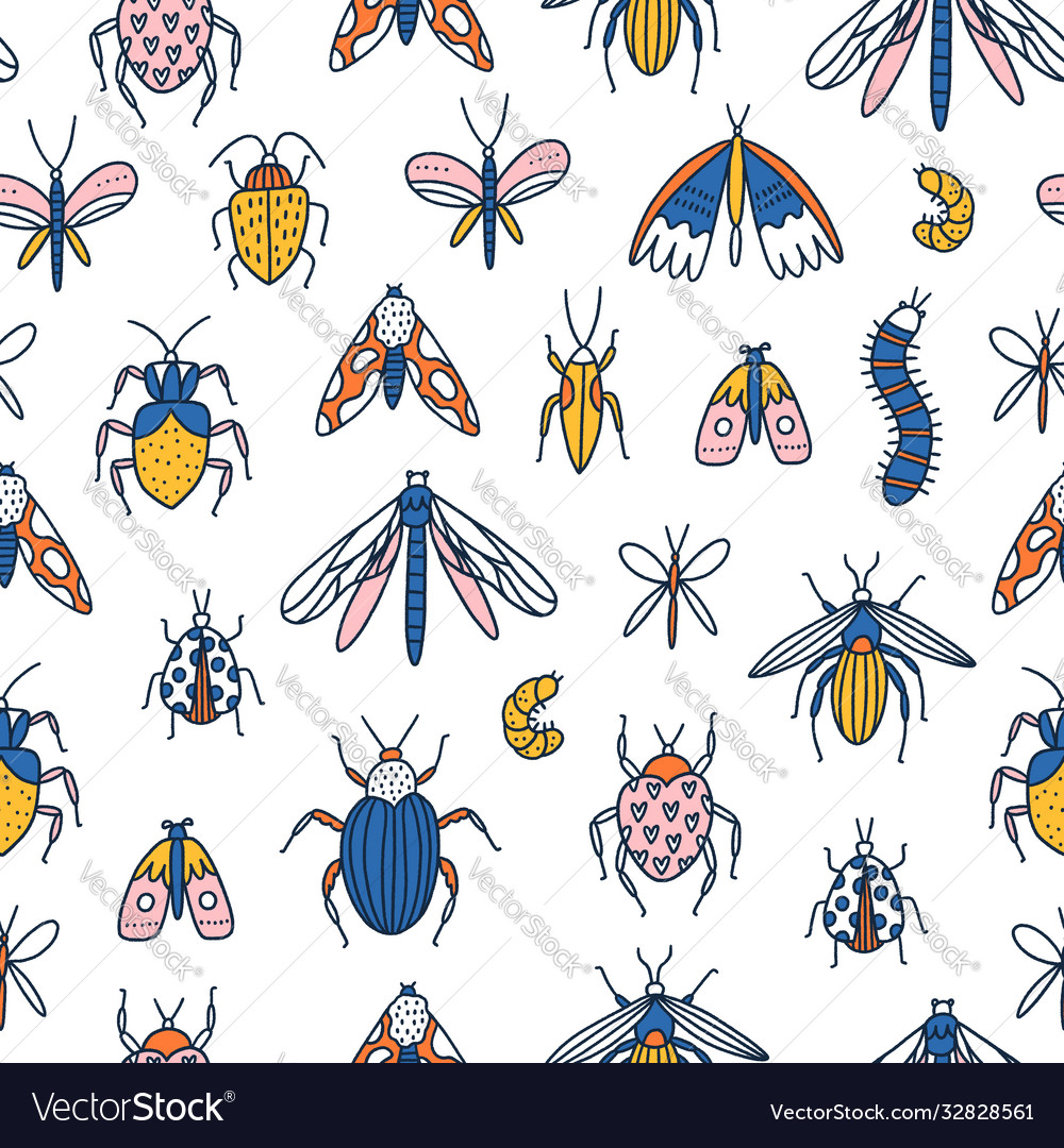 Colorful cartoon insects seamless pattern