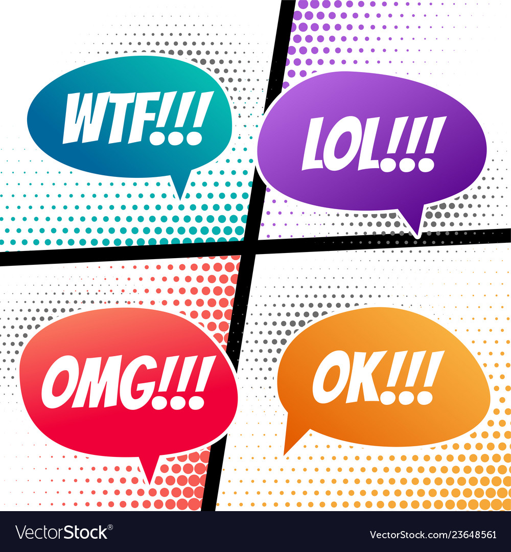 Comic speech dialog expressions bubble in