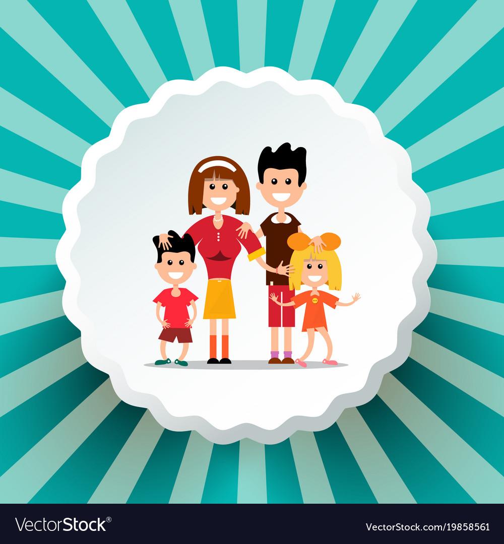 Family on retro background