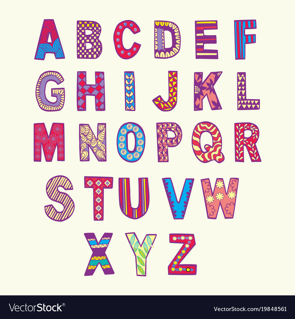 Fantasy Hand Drawn Fonts In Doodle Style Vector Image