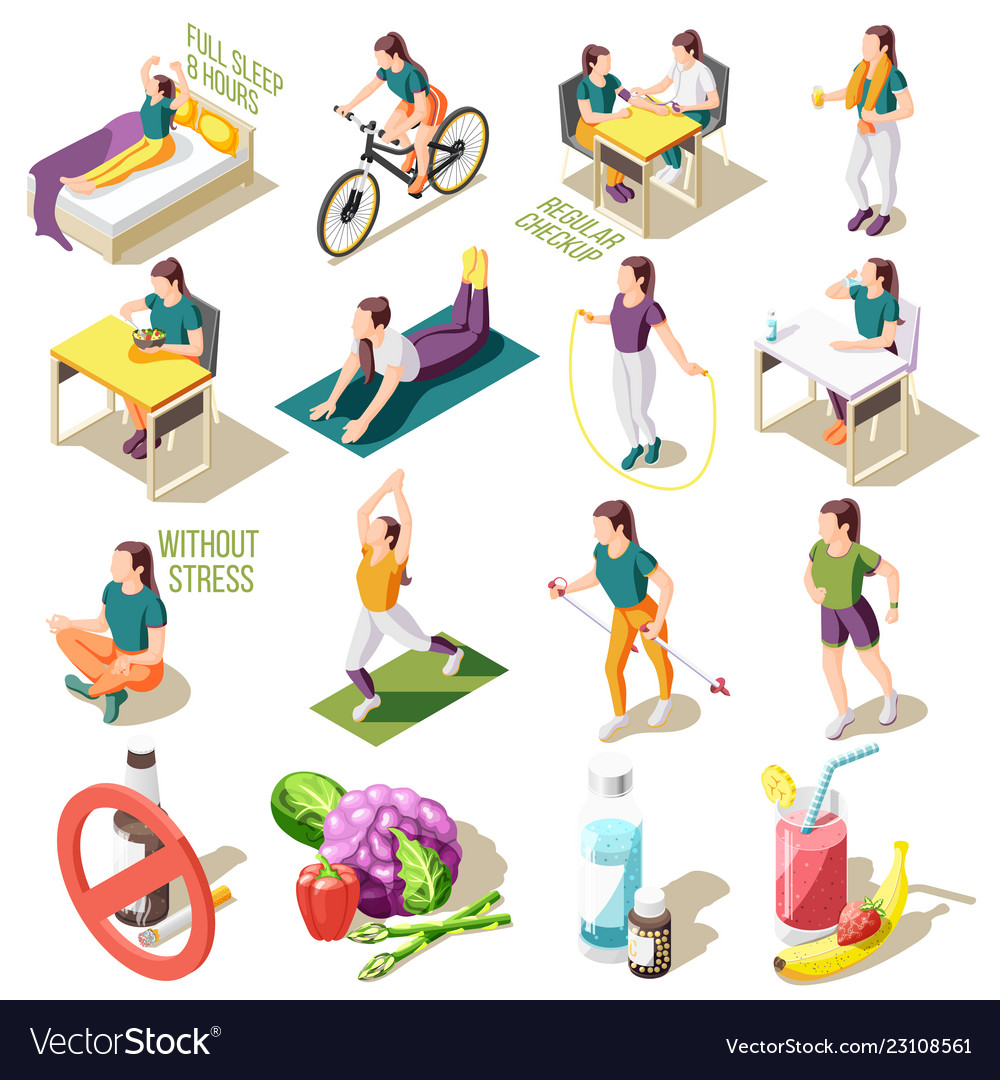 Healthy life style isometric icons