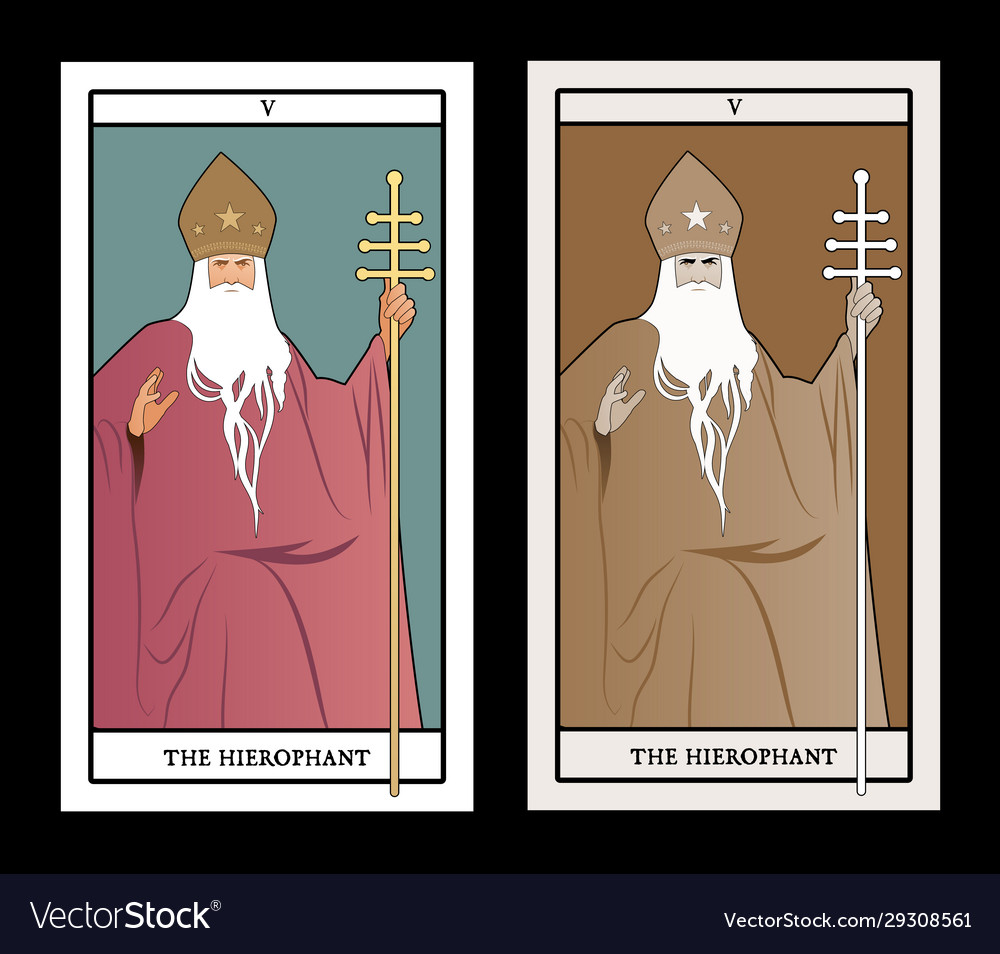 Major arcana tarot cards hierophant pope