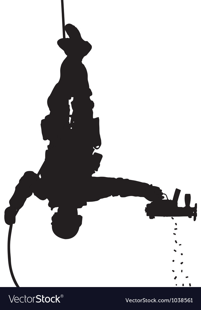 Police rappelling silhouette vector image