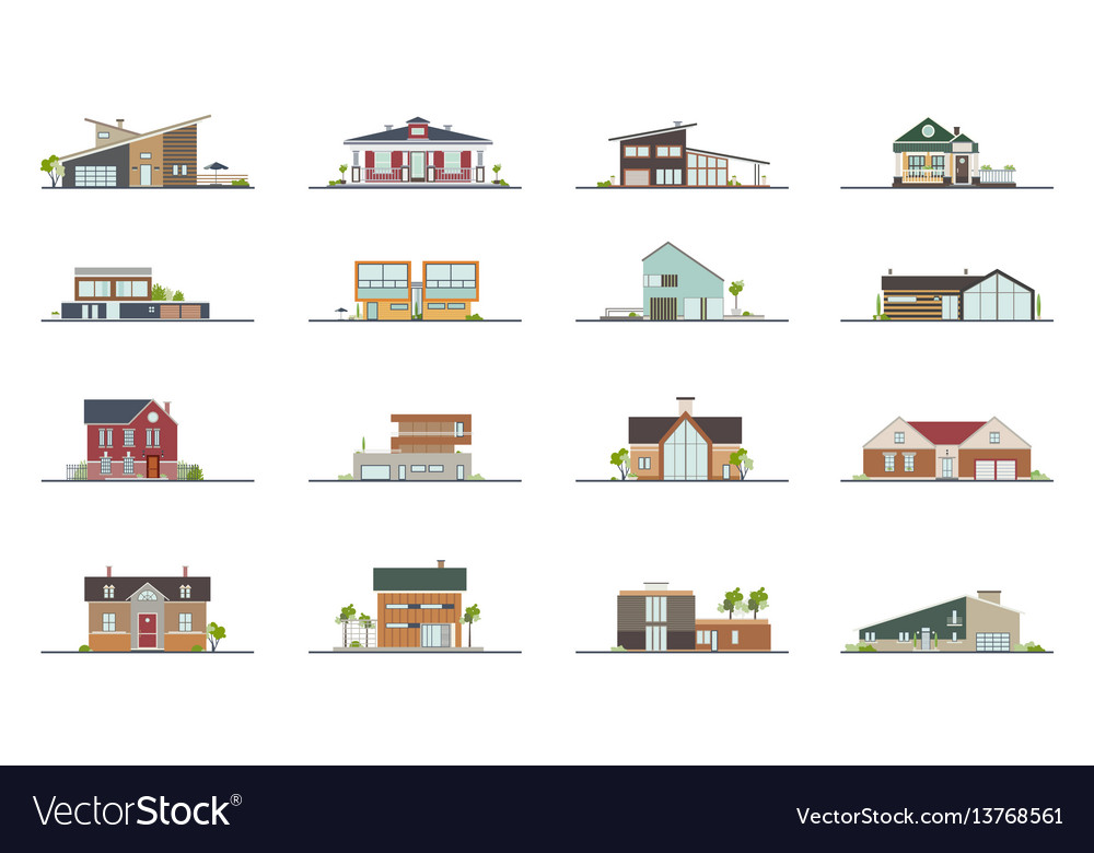 Set of different styles residential houses