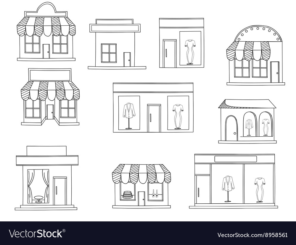 Store buildings coloring book Royalty Free Vector Image
