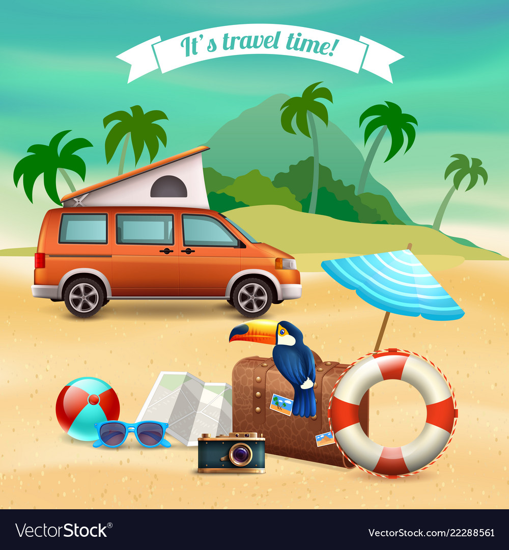 Summer realistic holidays poster