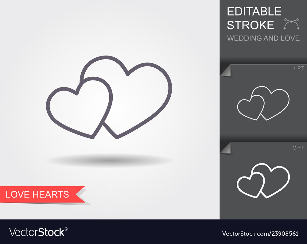 Two hearts symbol love line icon with shadow