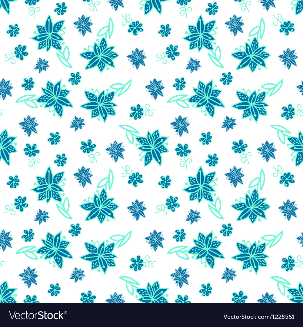 Vintage blue and white floral seamless pattern