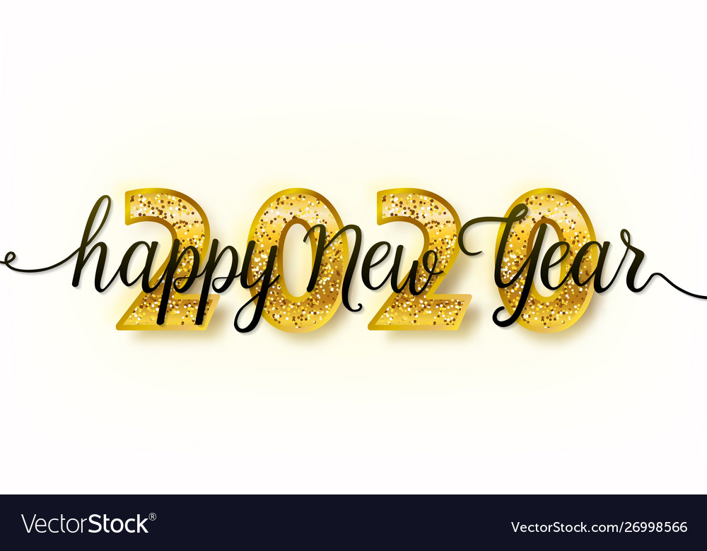 2020 happy new year background with big