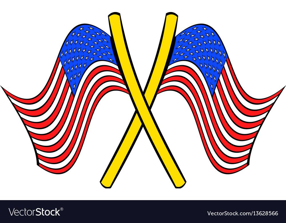 American flags icon cartoon