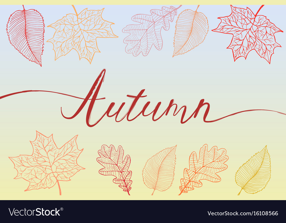 Autumn brush hand written title with colorful vector image