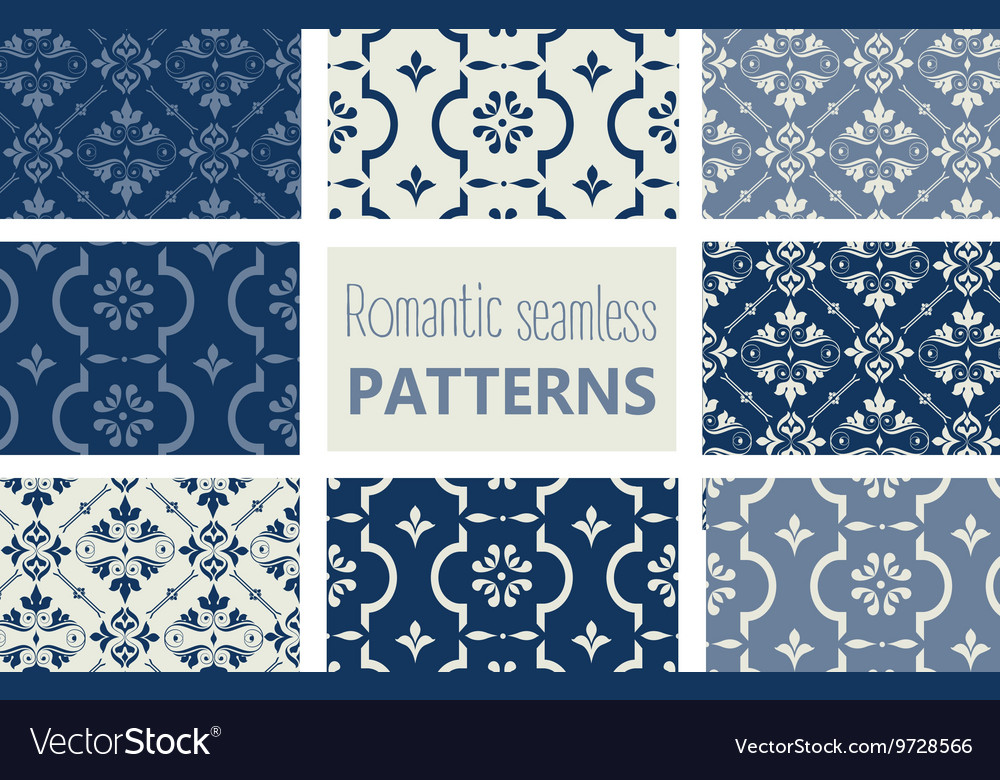 Baroque background set vector image