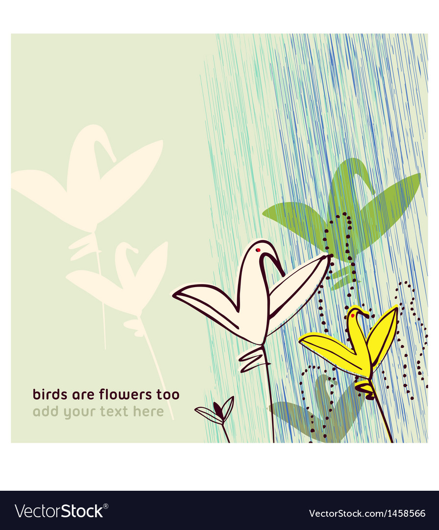 Birds as flowers Invitation greeting postcard