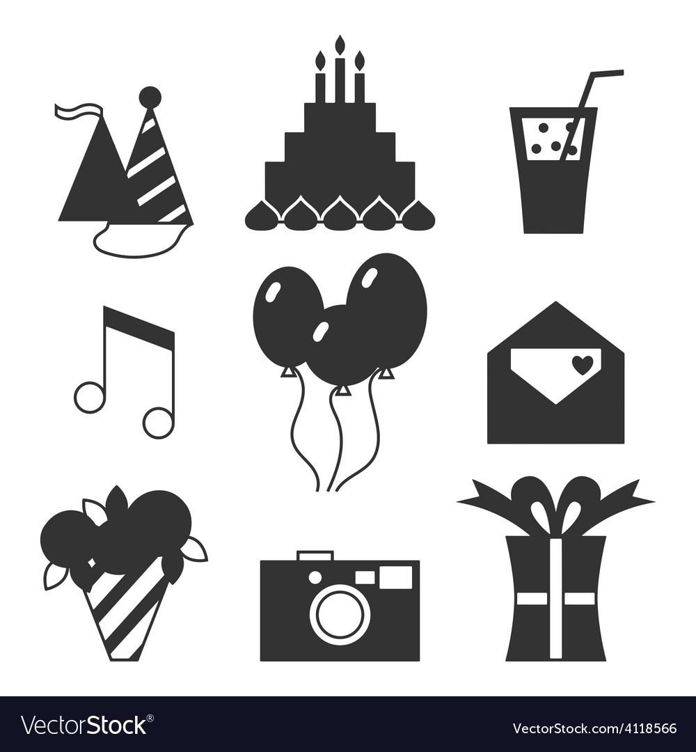 Black silhouette icons happy birthday