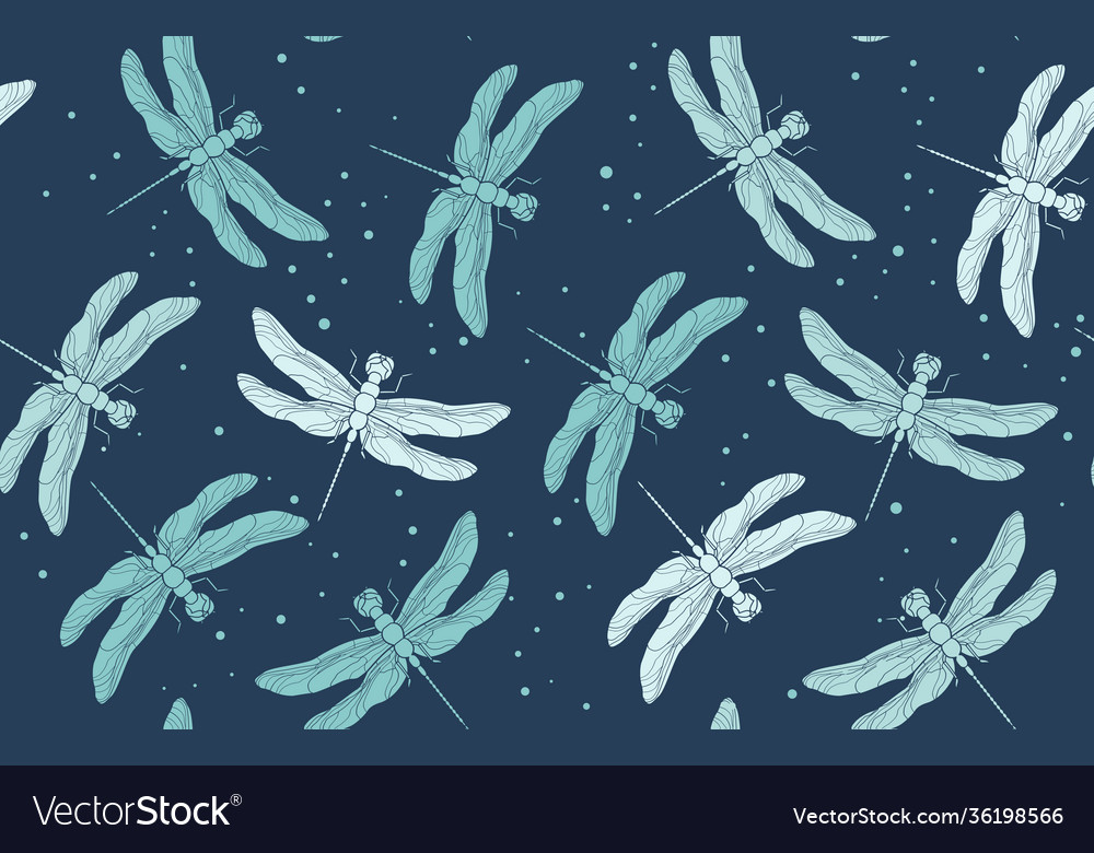 Blue dragonfly seamless pattern vintage retro