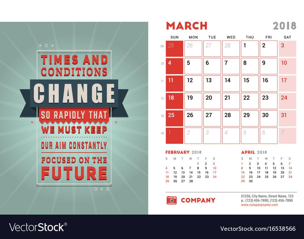 Desk Calendar Template For 2018 Year March Design Vector Image