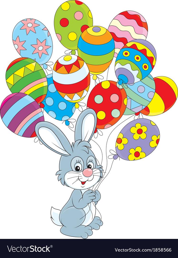 Днем, открытка зайчик с шариками