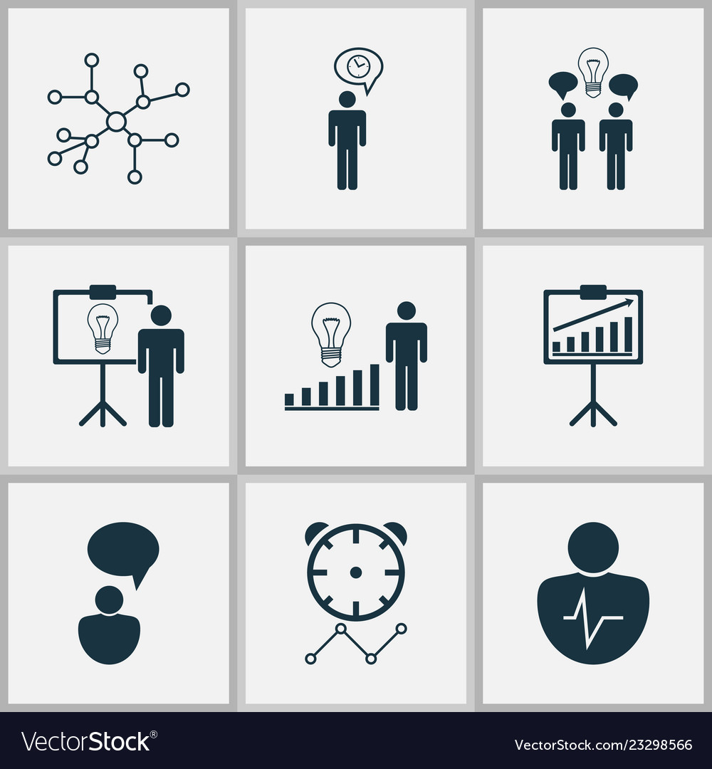 Executive icons set with management improvements