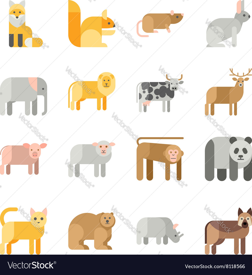 Flat design animals icon set vector image