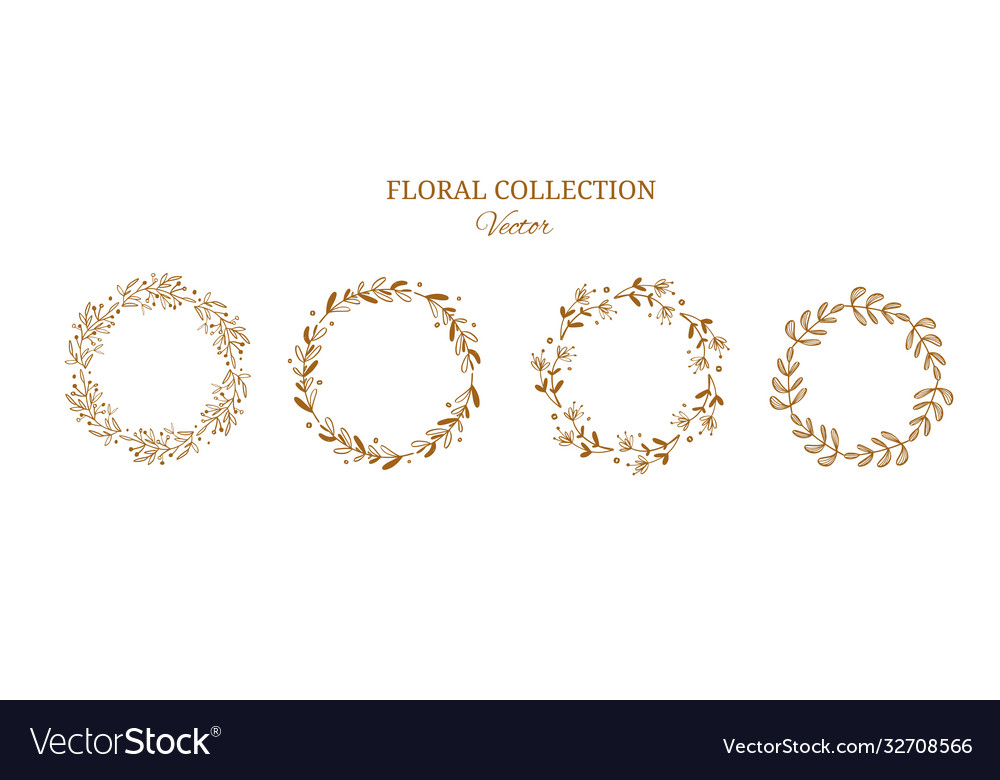 Floral wreaths collection golden