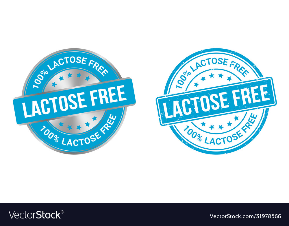 Grunge stamp and silver label lactose free