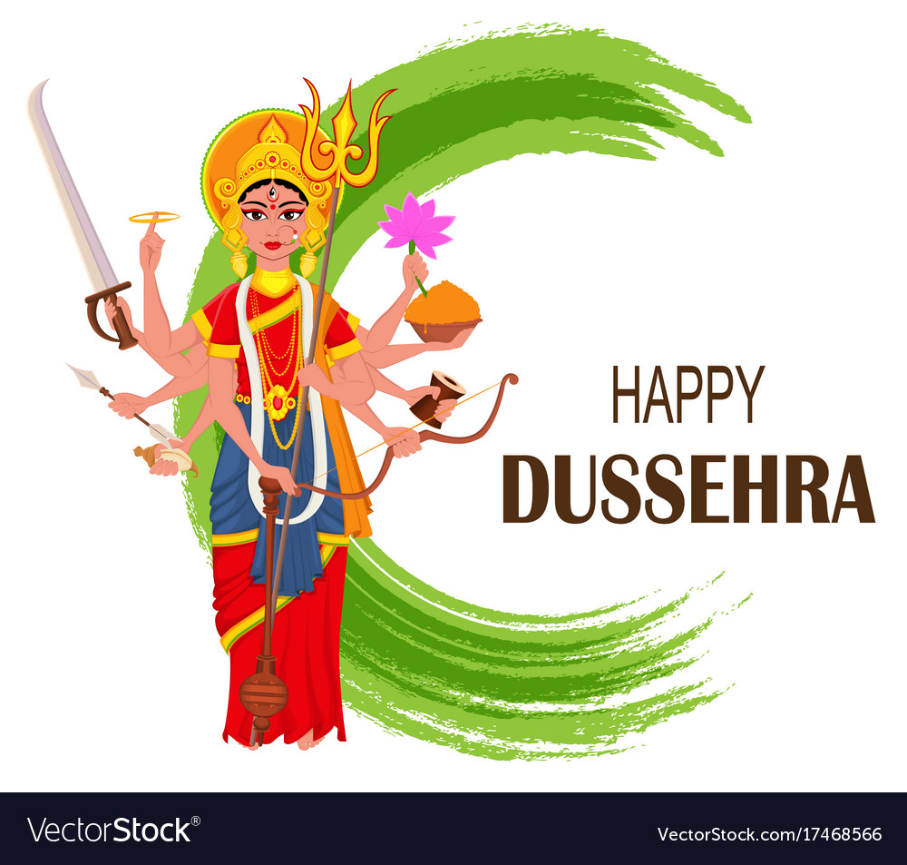 Happy dussehra maa durga on abstract background