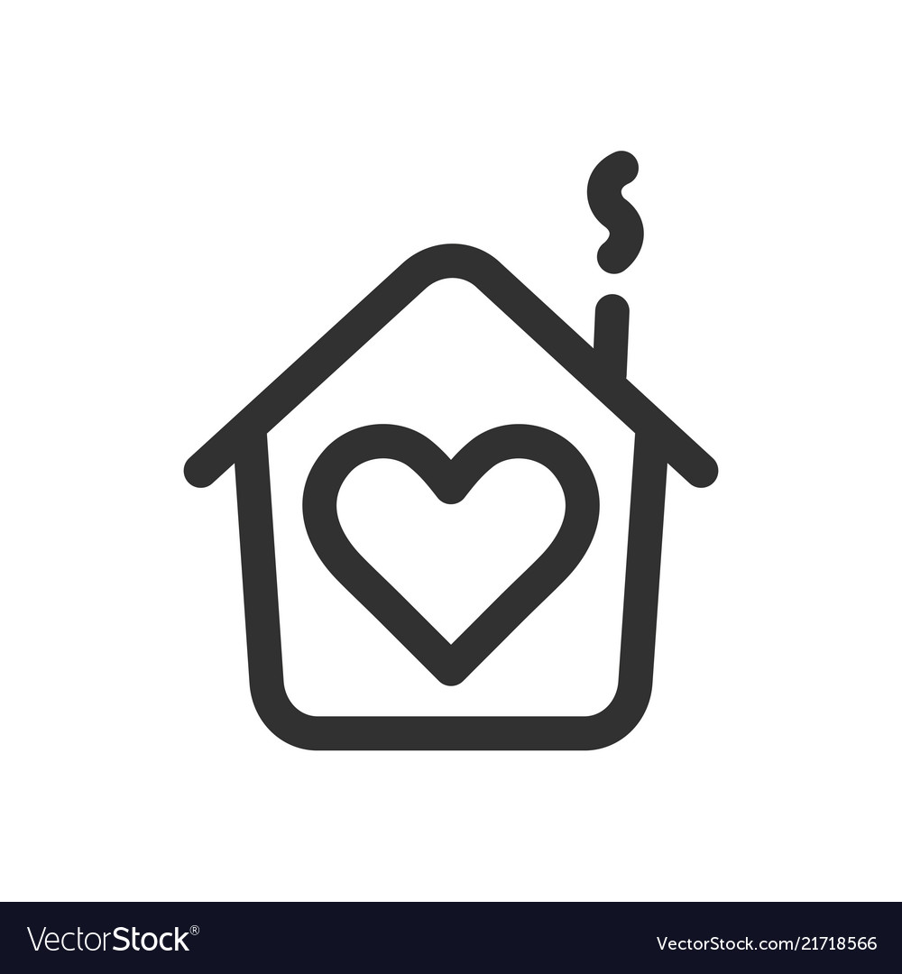 House with heart shape within love home symbol
