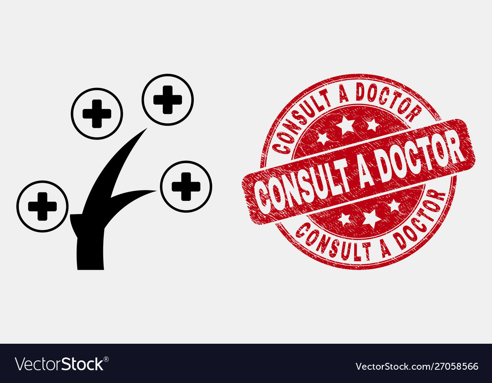 Line medical tree icon and distress consult