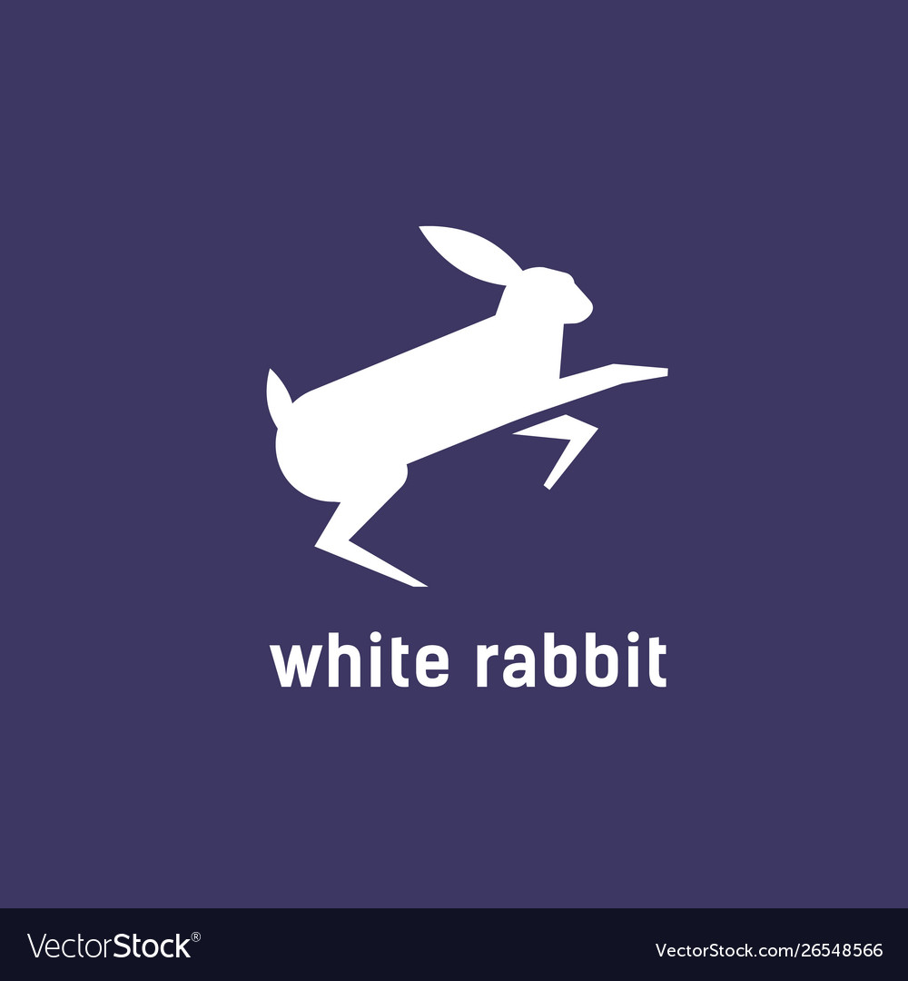 Logotype with silhouette jumping rabbit bunny