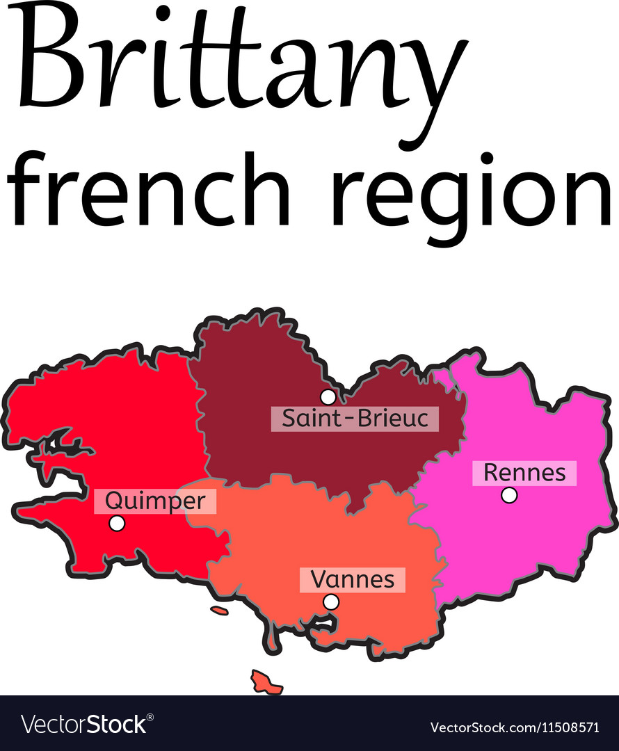 Rennes Map Of France.Brittany French Region Map