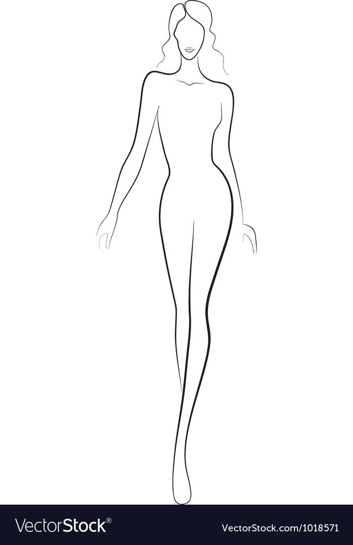 Fashion sketch of catwalk woman