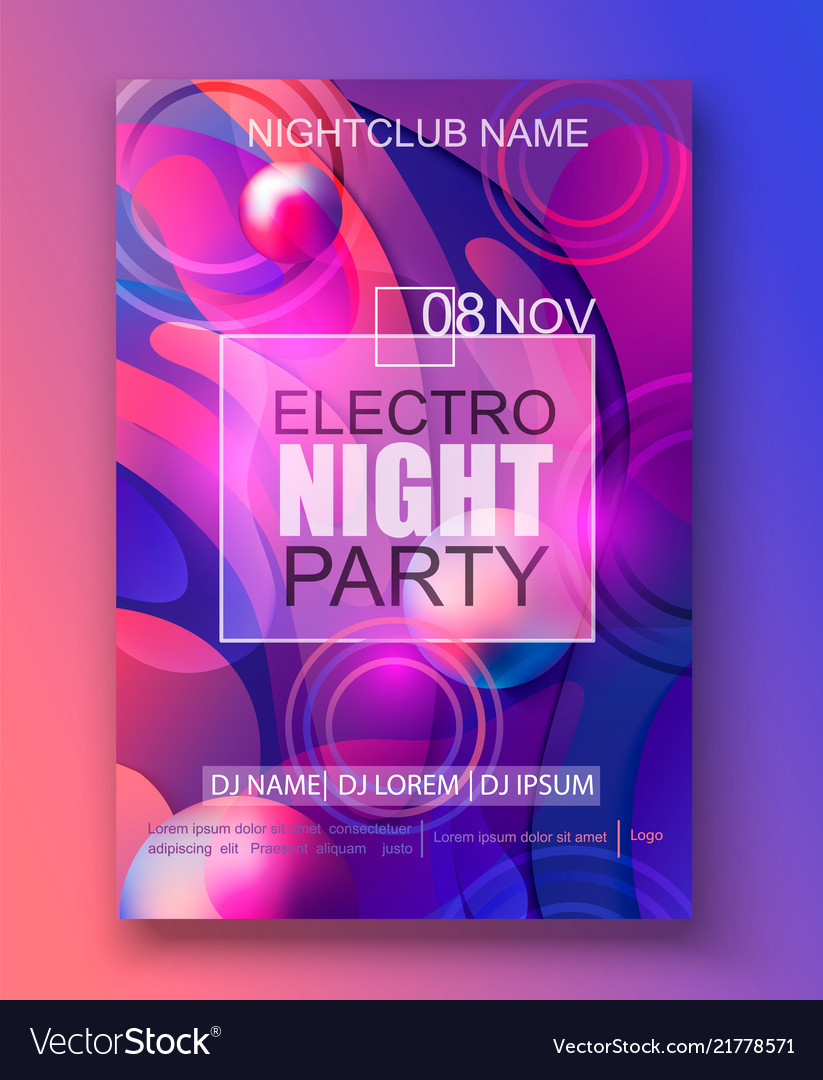 Flyer or banner to the electro night party