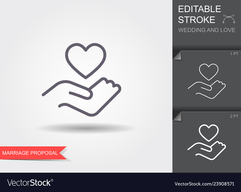 Hand holding heart symbol line icon with shadow