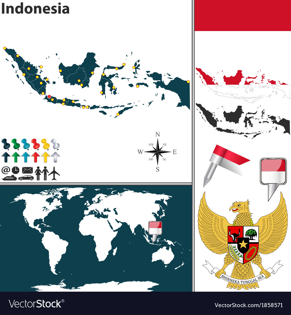 Indonesia map world vector image