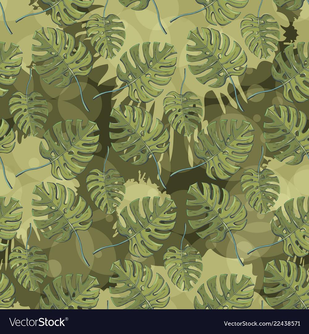 Monstera plant leaves seamless pattern