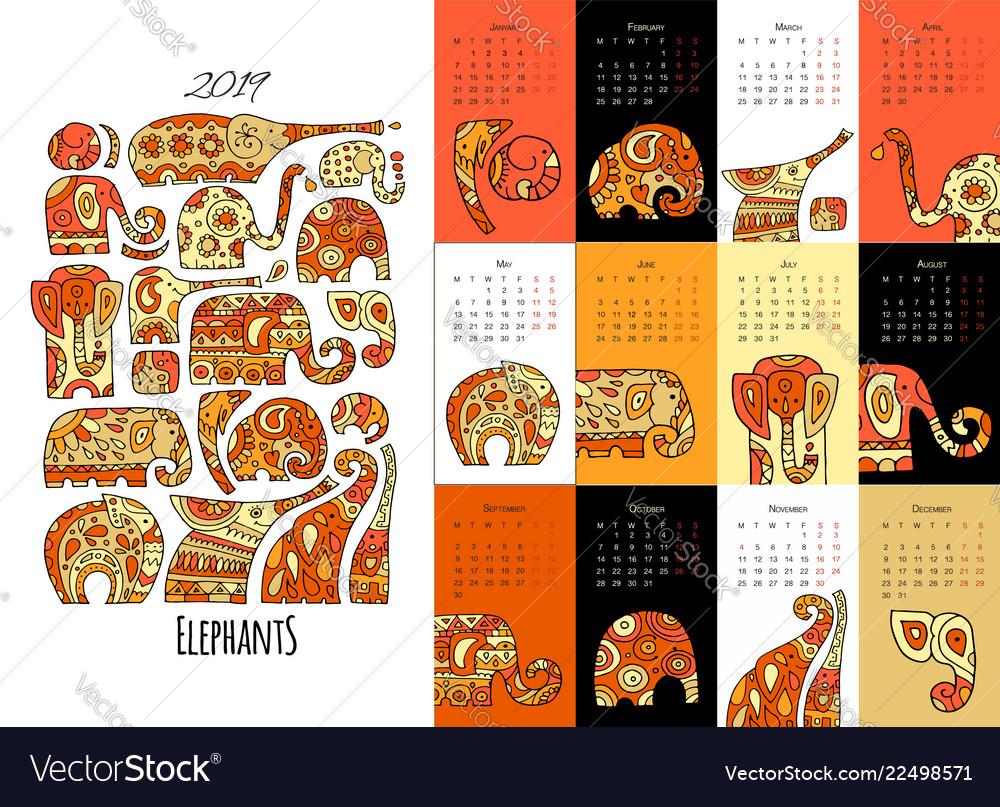 Ornate elephants calendar 2019