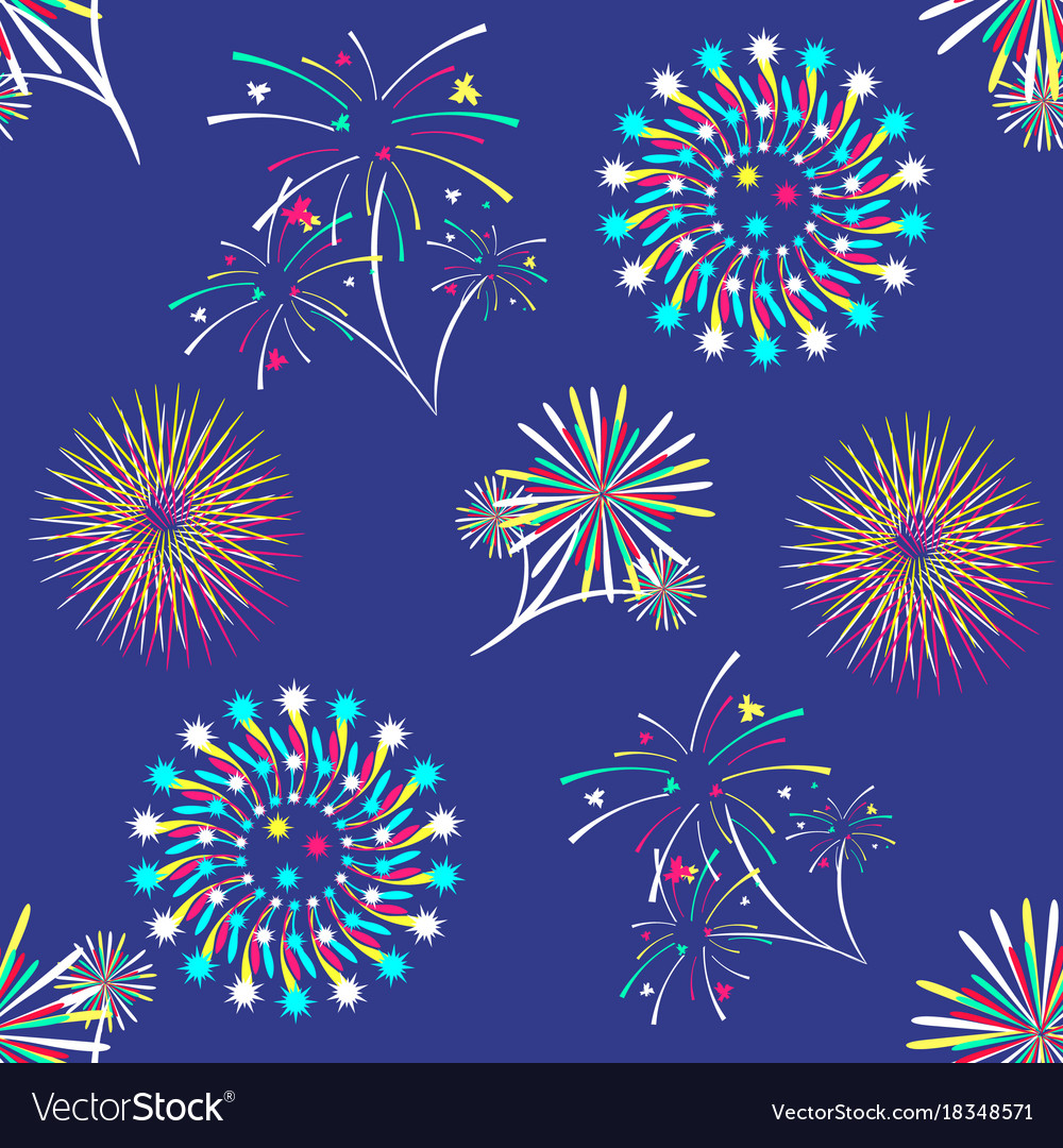 Pattern with different colorful fireworks