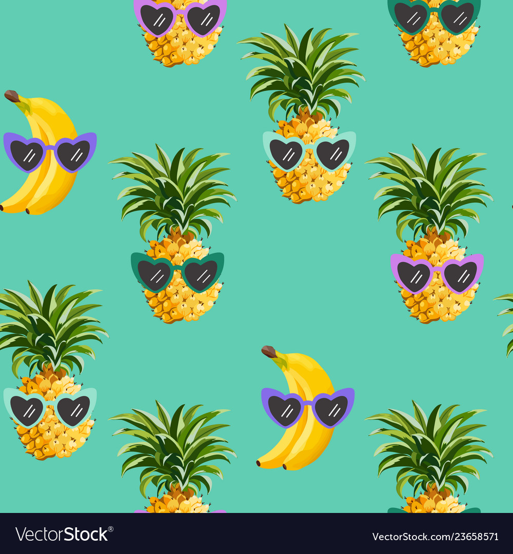 Pineapple banana funny glasses seamless pattern